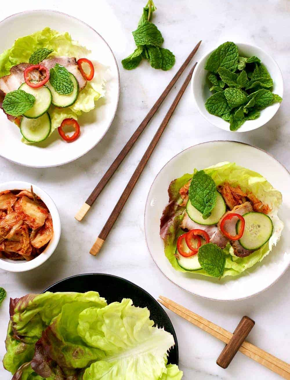 Pork Belly Cucumber and Kimchi Lettuce Wraps