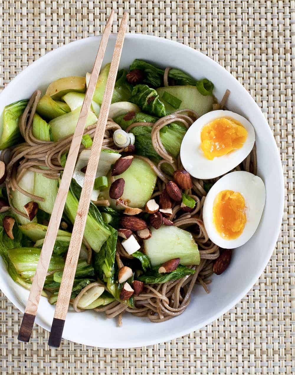 Spicy Soba Noodle Bowl with Egg - Pinch and Swirl