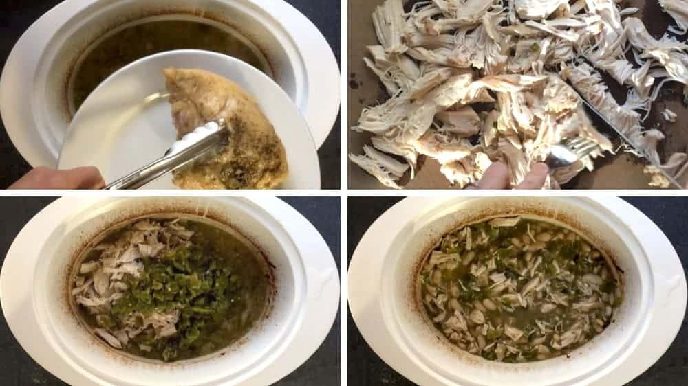 combining white chicken chili ingredients