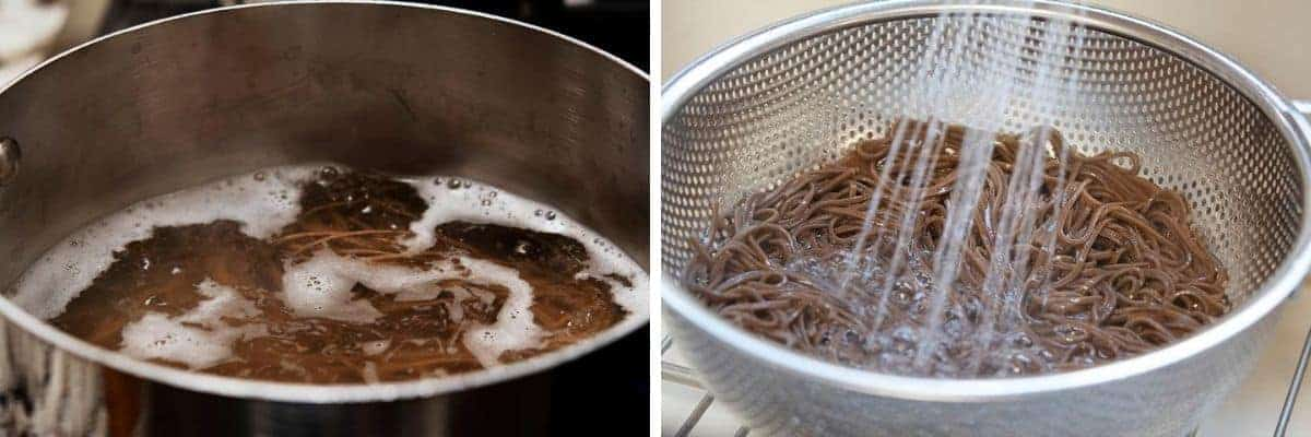 cooking draining and rinsing soba noodles
