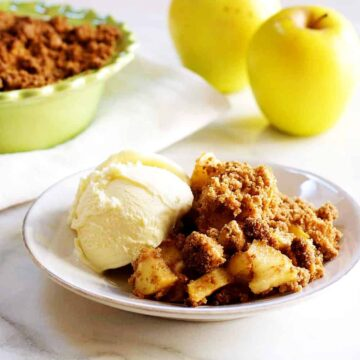 Easy-Apple-Crisp served with ice cream featured