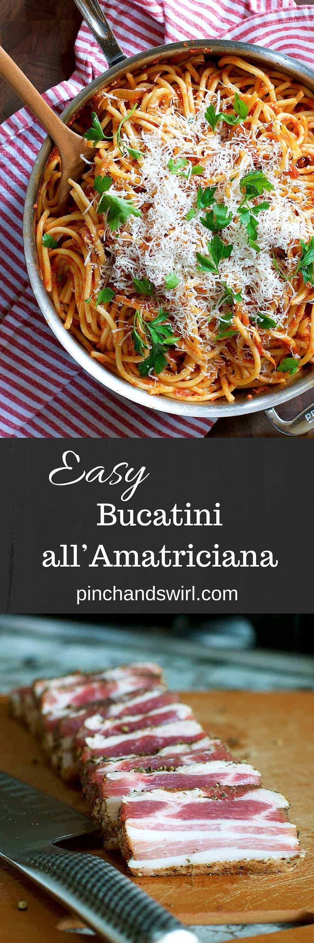 Make classic Bucatini all'Amatriciana with this simple recipe and you'll have dinner on the table in less than half an hour! A simple combination of tender bucatini noodles, spicy tomato sauce, pancetta and cheese, it's likely to become one of your favorite busy day meals! #recipe #bacon #easyrecipe #ItalianRecipes #Pasta