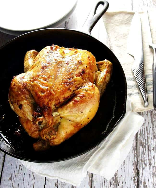 Herb-Roasted-Chicken in a Cast Iron Skillet