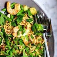 Ramen Noodle Stir Fry served on gray platter featured