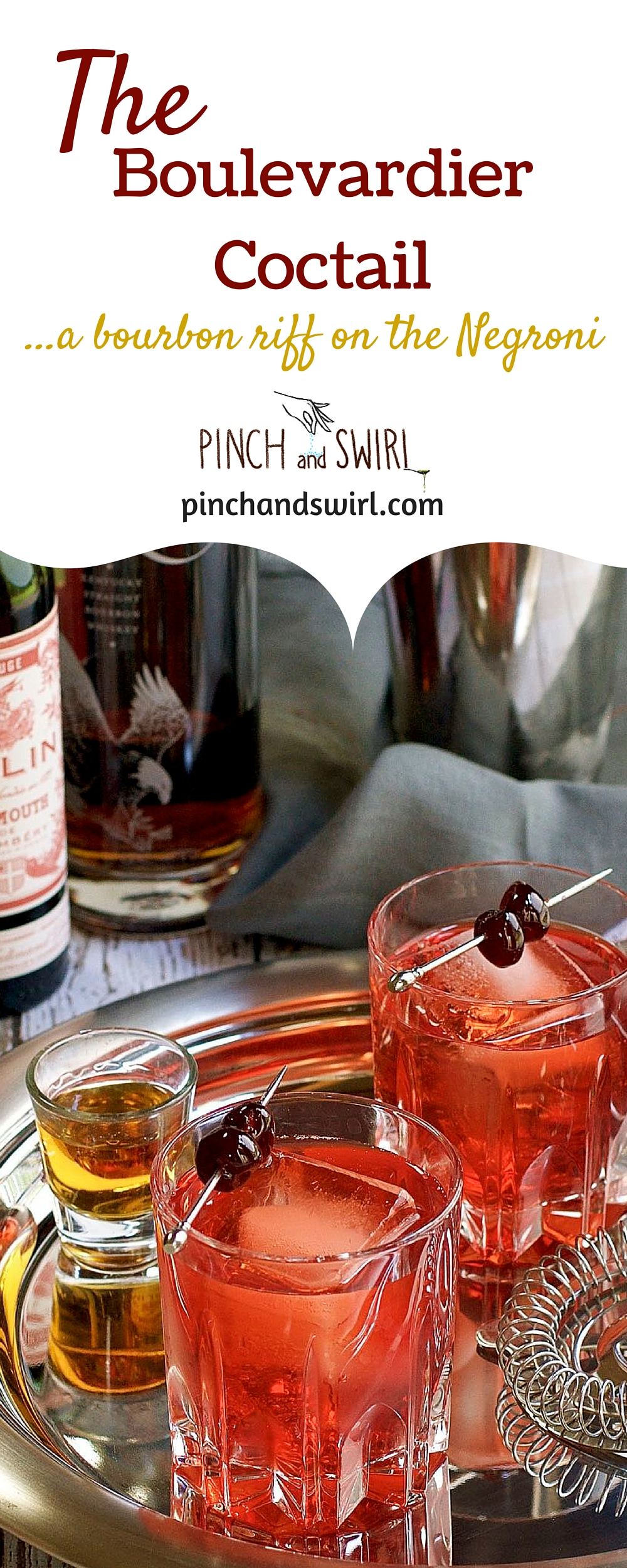 The Boulevardier - a bourbon twist on the classic Negroni. Served over a giant ice cube of course. :) #cocktails #cocktailhour #TGIF