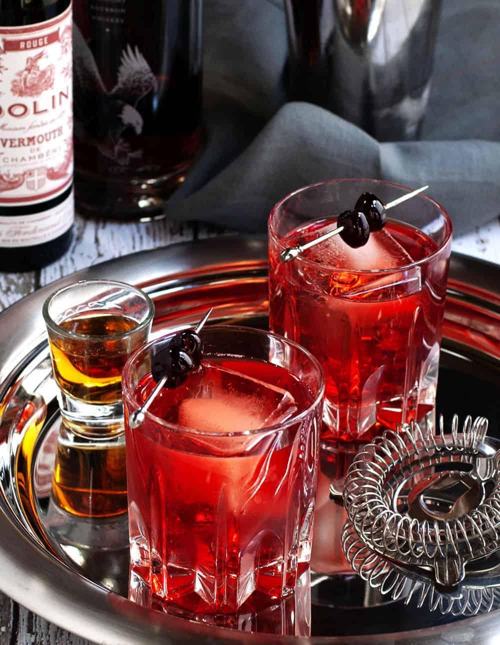 Boulevardier Cocktails served
