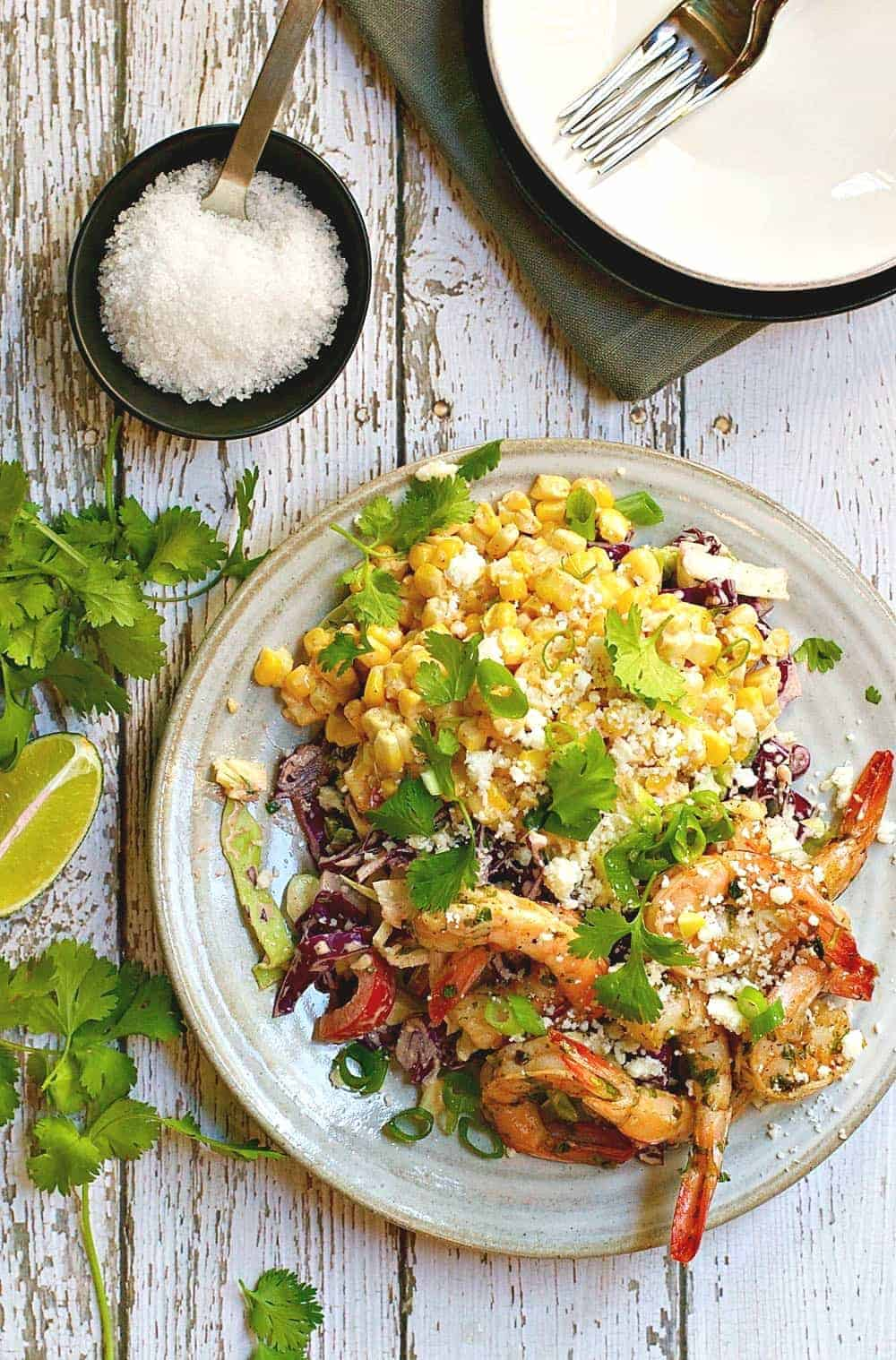 Mexican Street Corn Salad with Spicy ShrimpPinch and Swirl