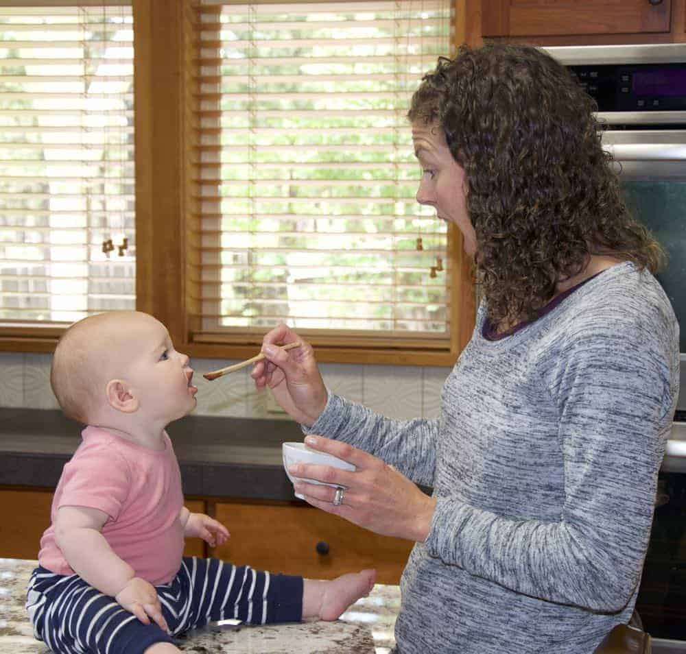 Meghan feeding Sadie