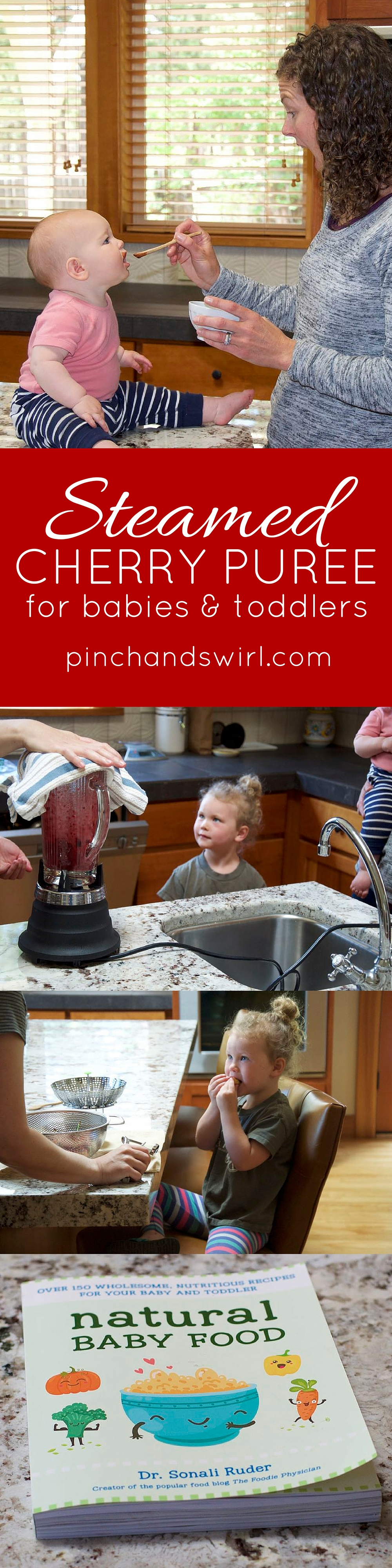 Steamed Cherry Puree for Babies - super easy, absolutely nutritious recipe from the new book : Natural Baby Food by @foodiephysician #babyfood #homemadebabyfood #healthybabyfood #healthyrecipes