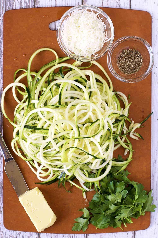 Zucchini Noodle Cacio e Pepe prep