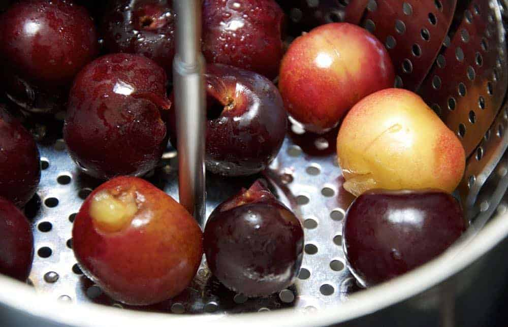 steaming pitted cherries