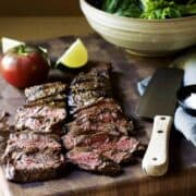 Carne-Asada thinly sliced across the grain featured