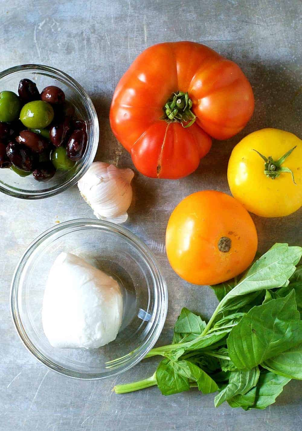 Ingredients for Checca Sauce or Pasta Alla Checca