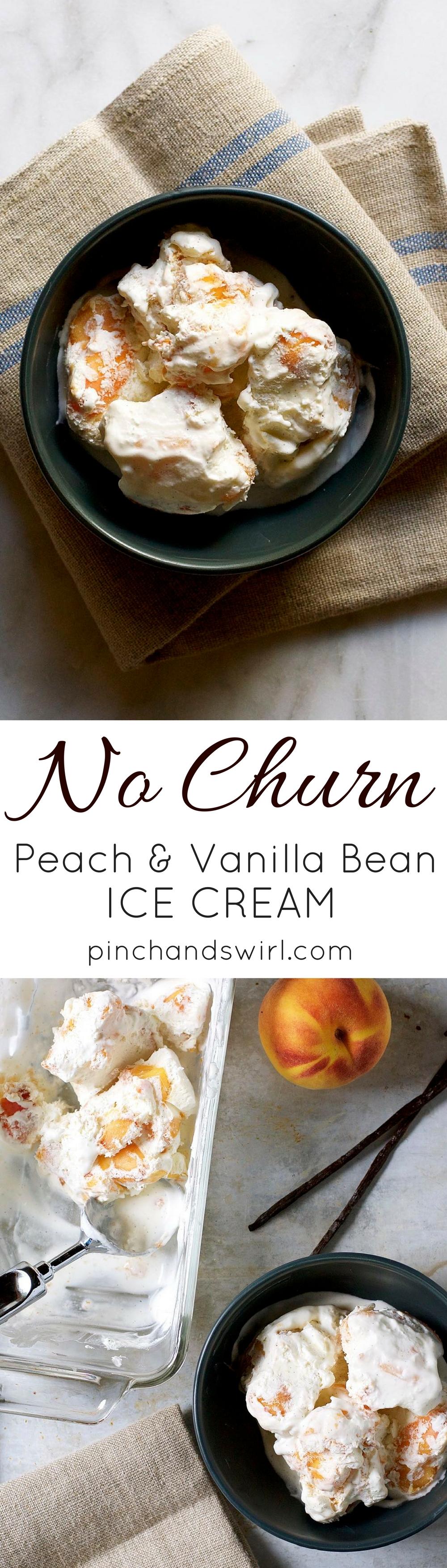 Homemade No Churn Peach Vanilla Bean Ice Cream - the quintessential summer dessert made easy! #icecream #peaches #easyrecipes #homemadeicecream