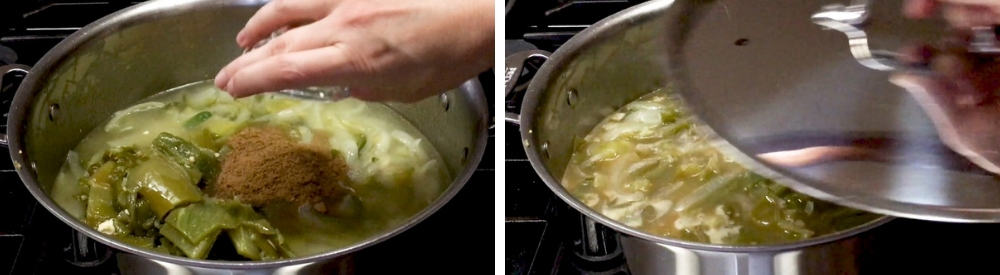 Adding Cumin and covering Green Enchilada Sauce