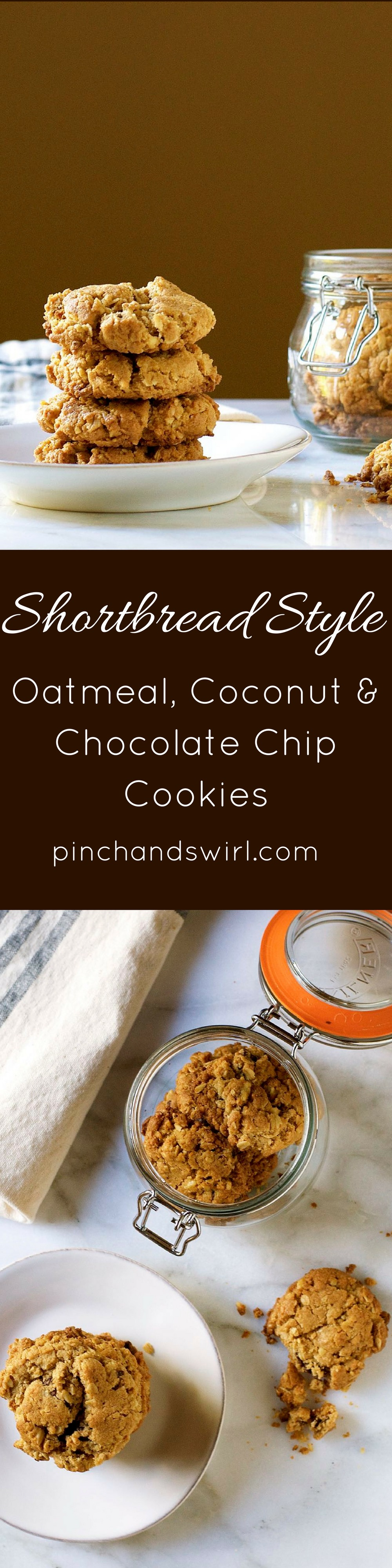 Shortbread Style Oatmeal Coconut and Chocolate Chip Cookies - the perfect amount of tender crunch! #cookies #recipes #cookiemonster