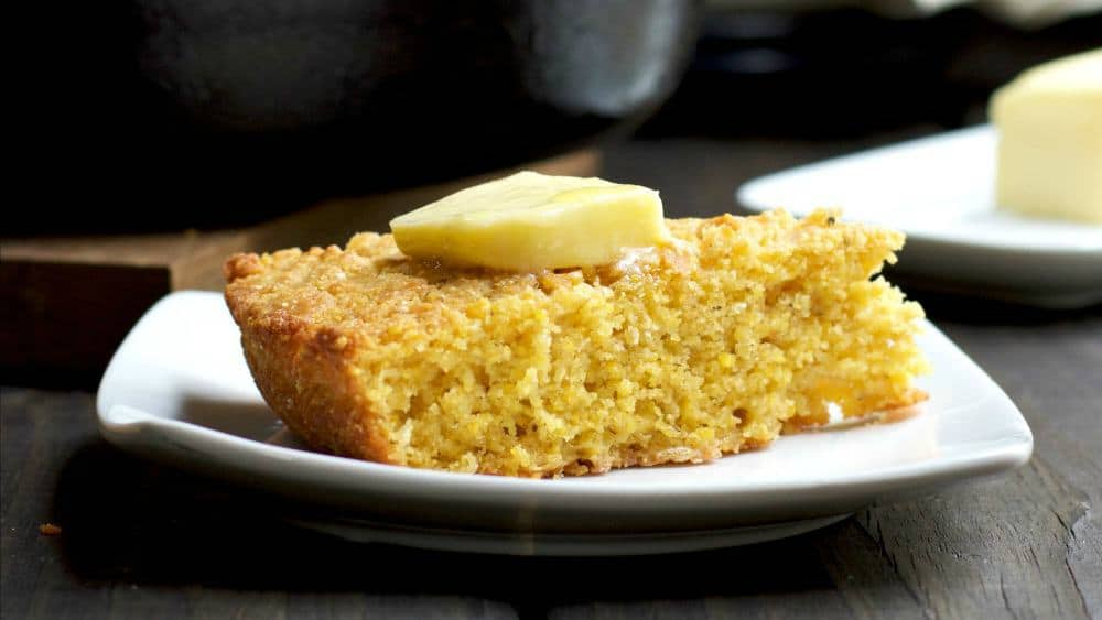 Skillet Cornbread Served with Slab of Butter