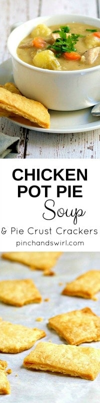 Classic Chicken Pot Pie lightened up as a Chicken Pot Pie Soup with Pie Crust Crackers. Though this recipe is loaded with vegetables and lighter than a traditional chicken pot pie, it's still rich and buttery smooth. #chickenrecipes #comfortfood #chickenpotpie #easyrecipes