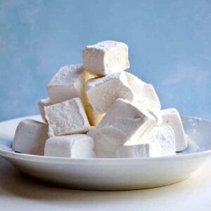 Homemade Marshmallows served on a white plate