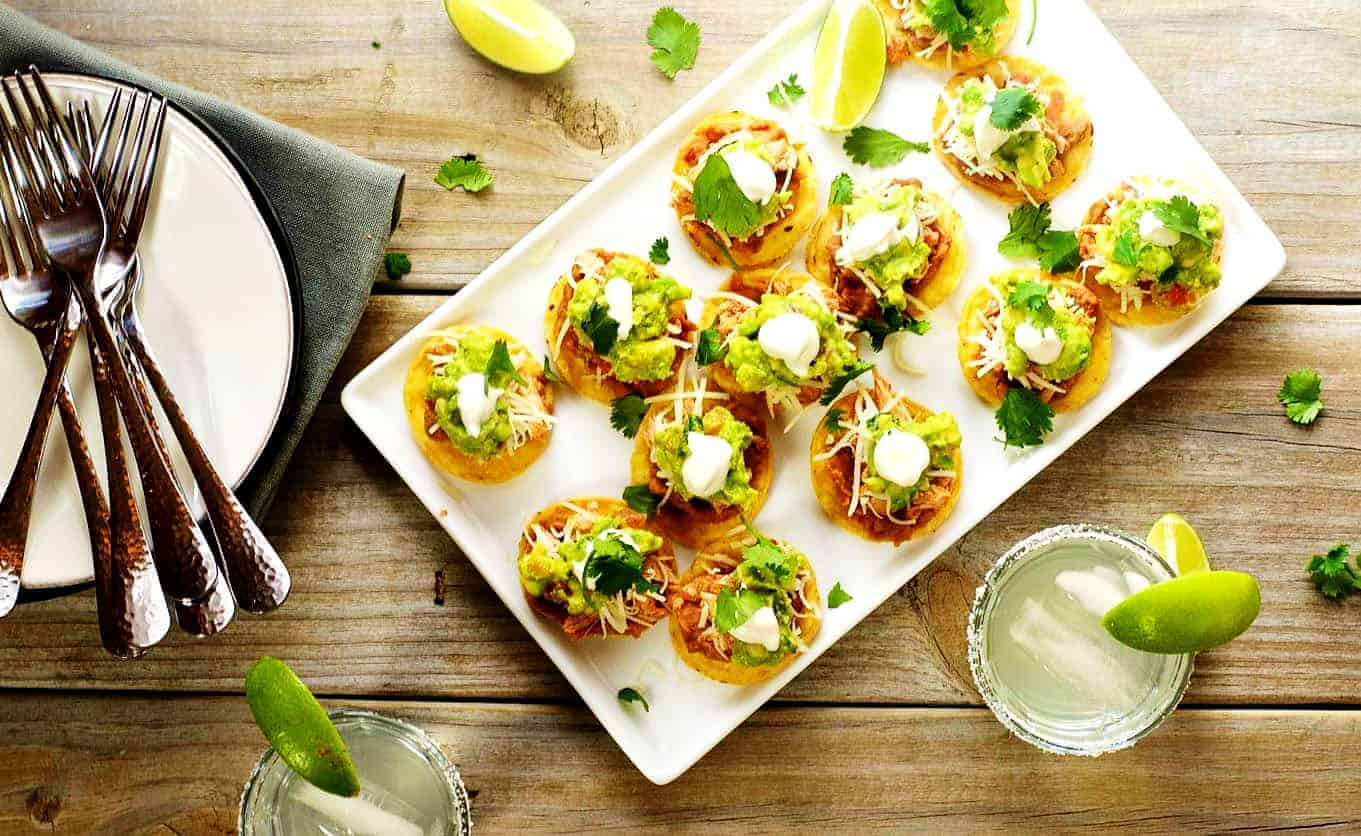 Mini-Chicken-Tostadas-Served on a white platter
