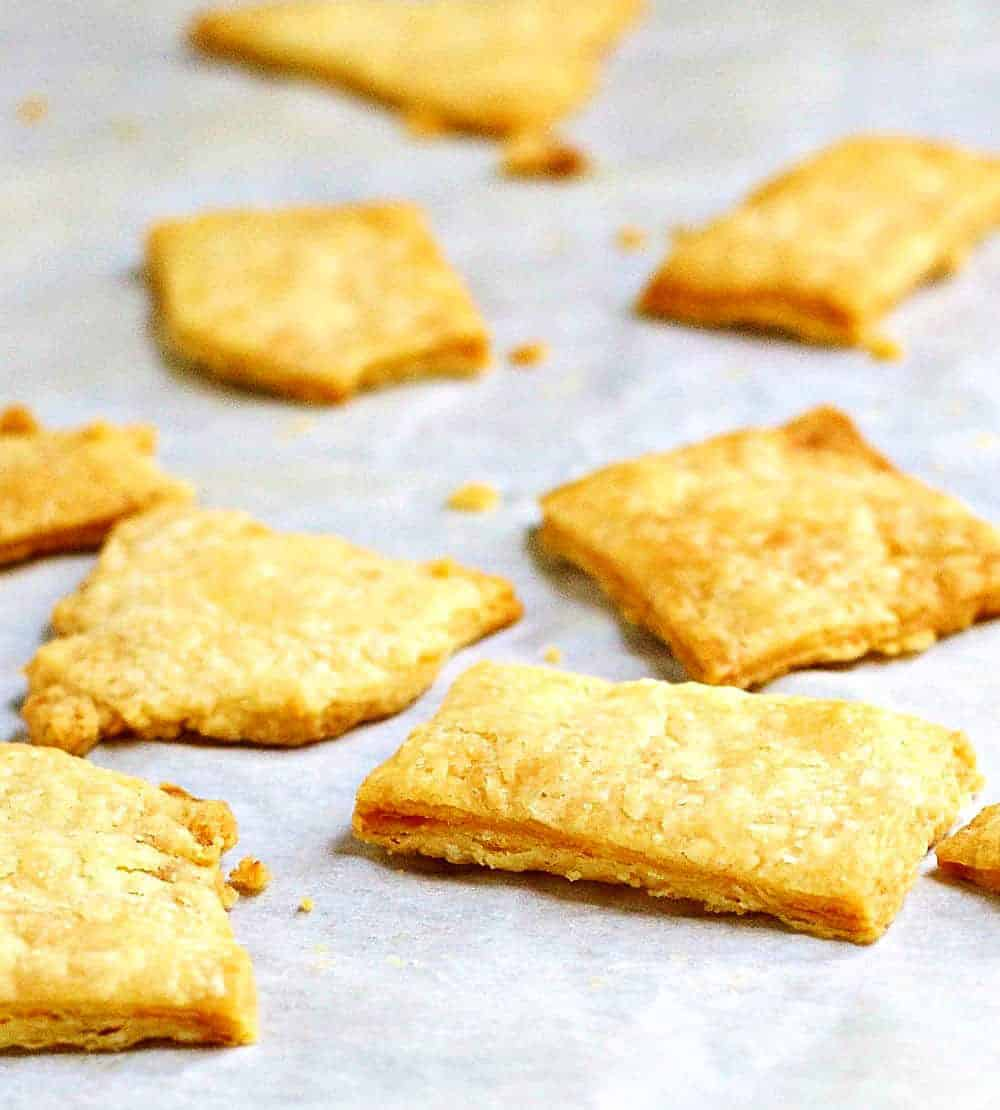 Pie-Crust-Crackers on a baking sheet