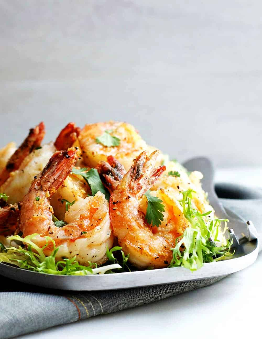 Salt-and-Pepper-Shrimp-served-on-a-stainless-steel platter