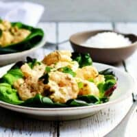 Shrimp-Remoulade-Salad_ served on white plates featured