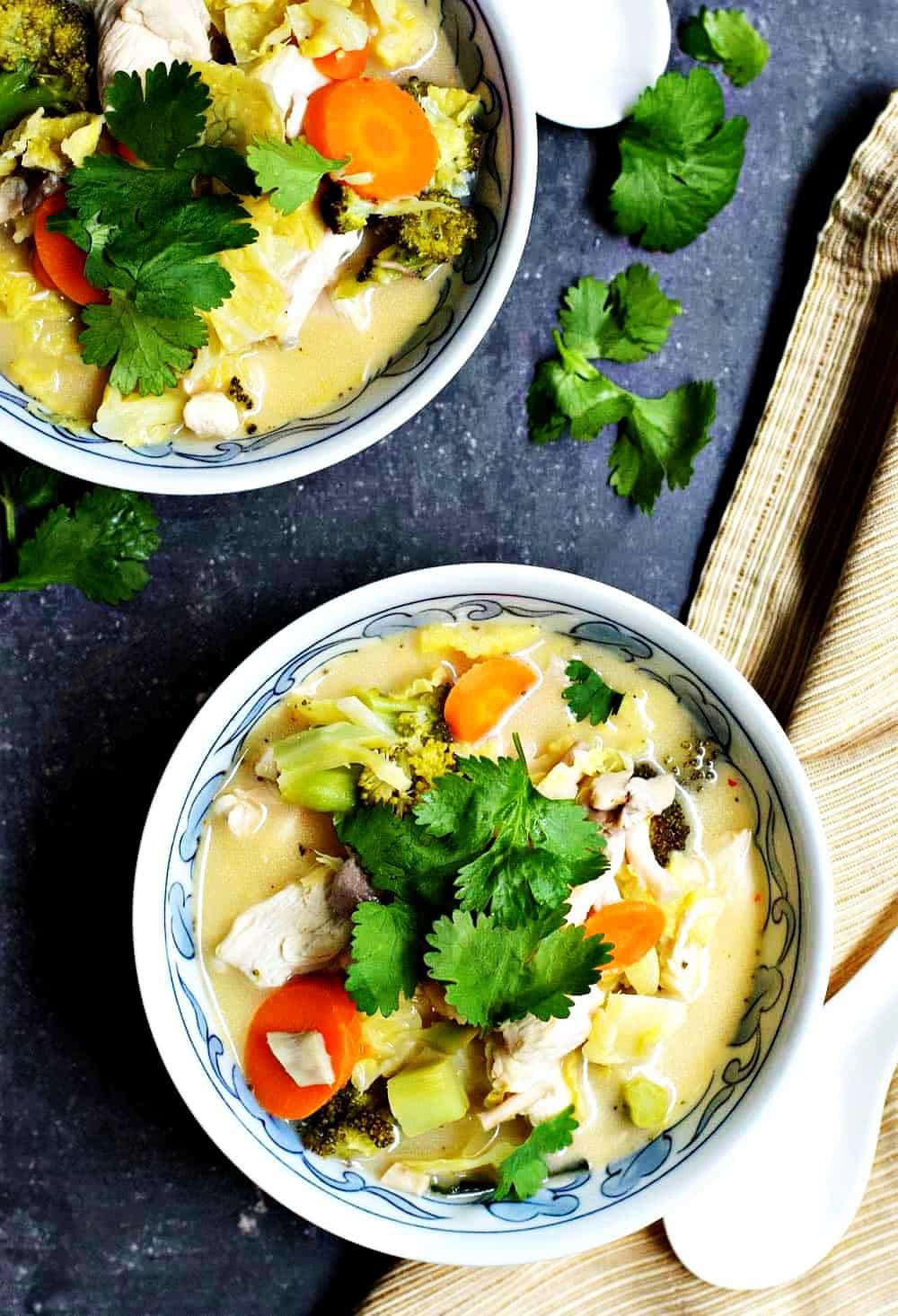 Tom-Kha-Gai-Soup-served in patterned bowls