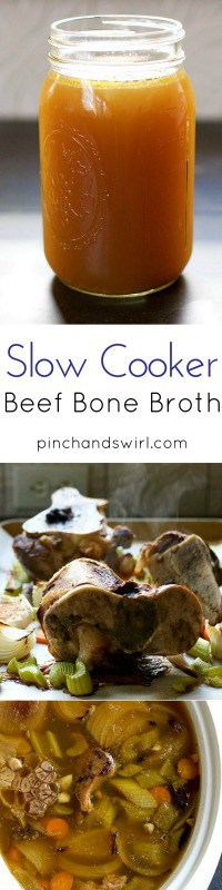 How to Make Slow Cooker Beef Bone Broth that is absolutely delicious and so easy! Simple Homemade Bone Broth in the Crock Pot!