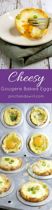 If you love baked eggs, you have to try them baked in gougères! They're so simple to make. Just hollow out an extra large gougère, crack an egg inside and sprinkle with a little cheese! An easy breakfast recipe for a couple or a crowd!