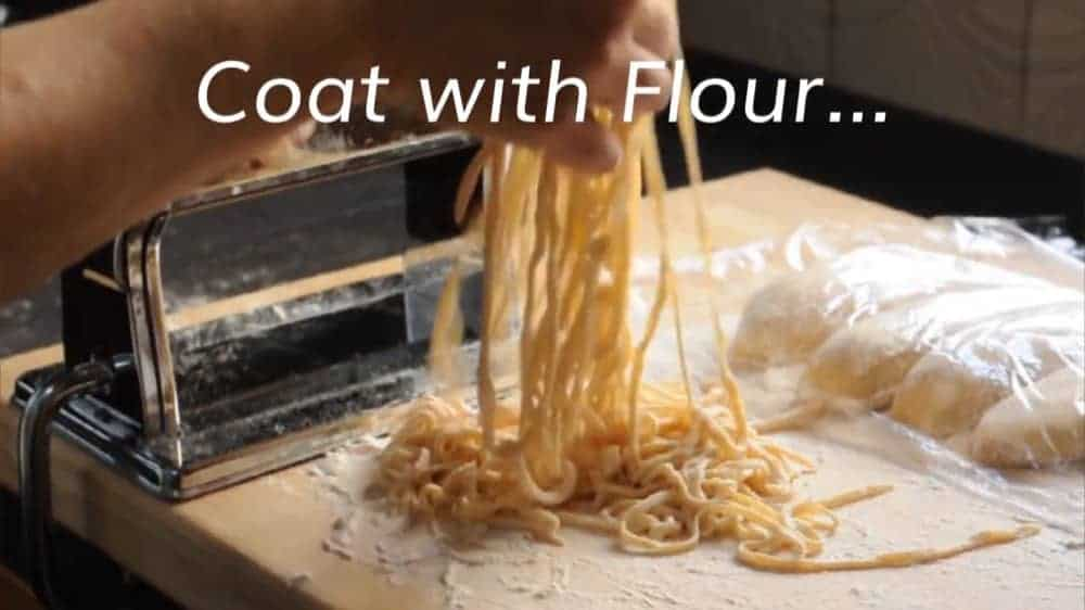 Coating Homemade Ramen Noodles with flour