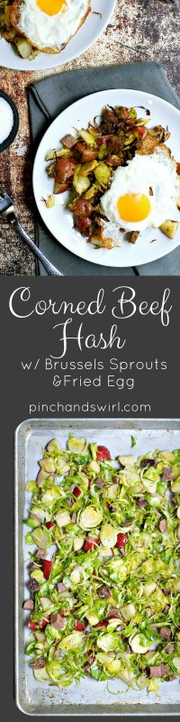 If you have leftover corned beef, this corned beef hash recipe is the perfect way to use it! You'll toss together diced corned beef, thinly sliced Brussels sprouts and little cubes of potato with a little olive oil and salt and pepper, then roast them to perfection and top with a fried egg!