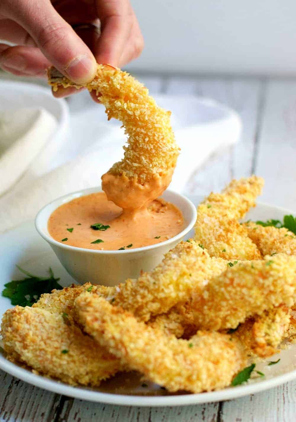 Crispy Baked Coconut Shrimp with Sriracha Lime Mayonnaise
