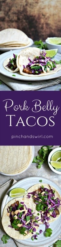 Now that you know how easy it is to make oven roasted pork belly, how about some pork belly tacos? Soft corn tortillas filled with crispy-edged, tender pork belly, crunchy cabbage, earthy cilantro and a spicy tangy drizzle. And you can make them in less than 30 minutes!