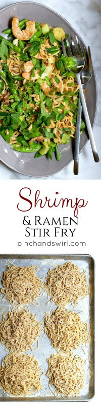 There are infinite ways to enjoy homemade ramen noodles and ramen noodle stir fry is one of them! This one is loaded with vegetables, herbs and shrimp and comes together in minutes. Easy enough to serve on a weeknight!