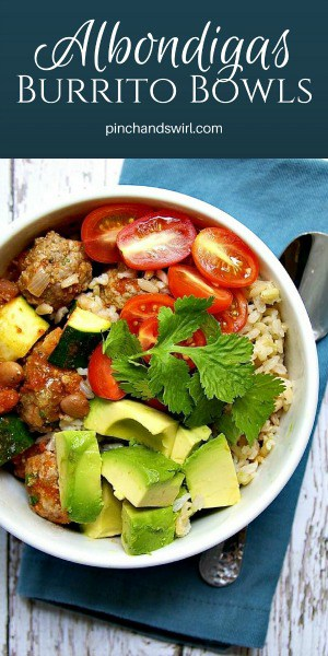 Albondigas burrito bowls are loaded with delicious vegetables and Spanish meatballs. A hearty meal that comes together in minutes!   Mexican Meatballs