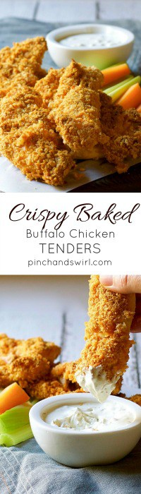 Crispy Baked Buffalo Chicken Tender being dipped into Blue Cheese Dressing