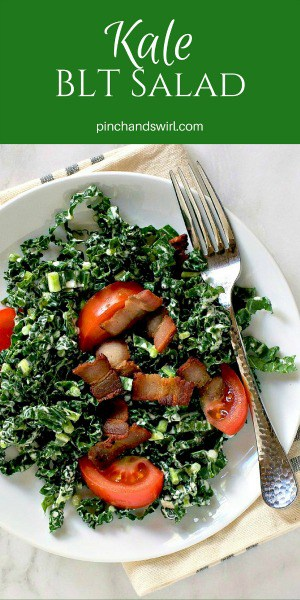 This Kale Salad with Tomatoes Bacon and Preserved Lemon Dressing has a little secret. It tastes EXACTLY like a BLT sandwich. If you're trying to cut down on calories or are looking for a gluten free BLT sandwich option, you've got to try this!
