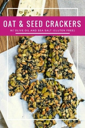 These Multi Seed Crackers with Oats are naturally gluten free, made with just old-fashioned oats, a variety of seeds, olive oil, salt and water. That's it! They're crispy and crunchy - a perfect snack on their own or paired with cheese. #crackers #glutenfree #ketodiet