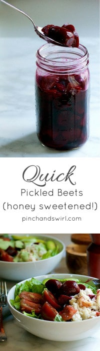 If you're wondering how to pickle beets easily, this is it! Just 6 ingredients and you don't even need to boil the pickling liquid! Just roast the beets, mix the pickling liquid ingredients together and pour over beets stacked in a jar. These easy pickled beets will be ready to eat in hours and will last up to 3 weeks in the refrigerator.
