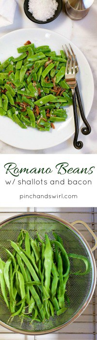 Romano Beans served with shallots and bacon served on a white plate