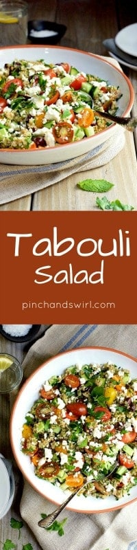 tabouli salad served in a large shallow white bowl