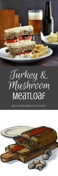Turkey and Mushroom Meatloaf is delicate, flavorful and loaded with mushrooms! Absolutely wonderful the day you make it and maybe even better stacked in meatloaf sandwiches the next day. You can assemble this meatloaf recipe in just minutes and even double it, as I sometimes do, if you're having company over for dinner or want to surprise someone with a comforting meal.