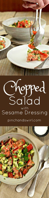 This Chopped Salad with Sesame Dressing comes from the cookbook, An Edible Mosaic, Middle Eastern Fare with Extraordinary Flair, a beautiful labor of love by Faith Gorsky. Make this refreshing salad once and you'll find yourself craving it often.