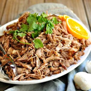 Plate of shredded pork carnitas ready to serve.
