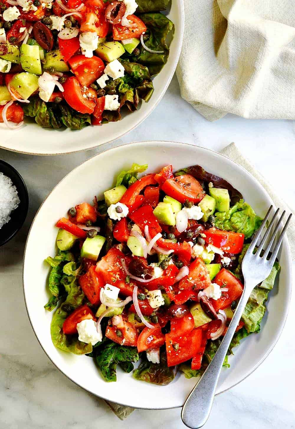 Greek-Salad-served in cermic bowls photo from above