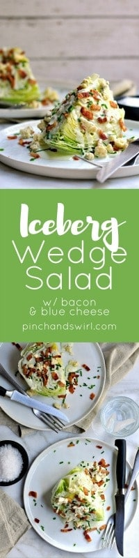 The Iceberg Wedge Salad is a classic American restaurant salad that is as easy as it is delicious! Crunchy iceberg lettuce, crispy bacon and the quintessential wedge salad dressing: creamy-tangy blue cheese. Make these for a couple of a crowd in minutes.