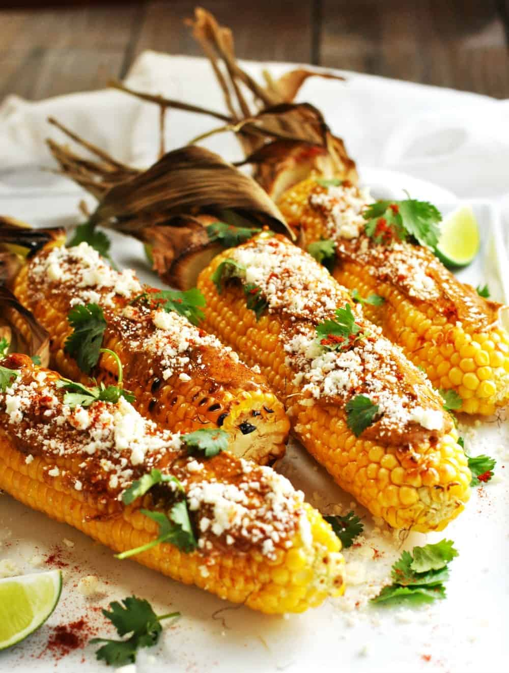 Mexican Street Corn Served on a White Platter