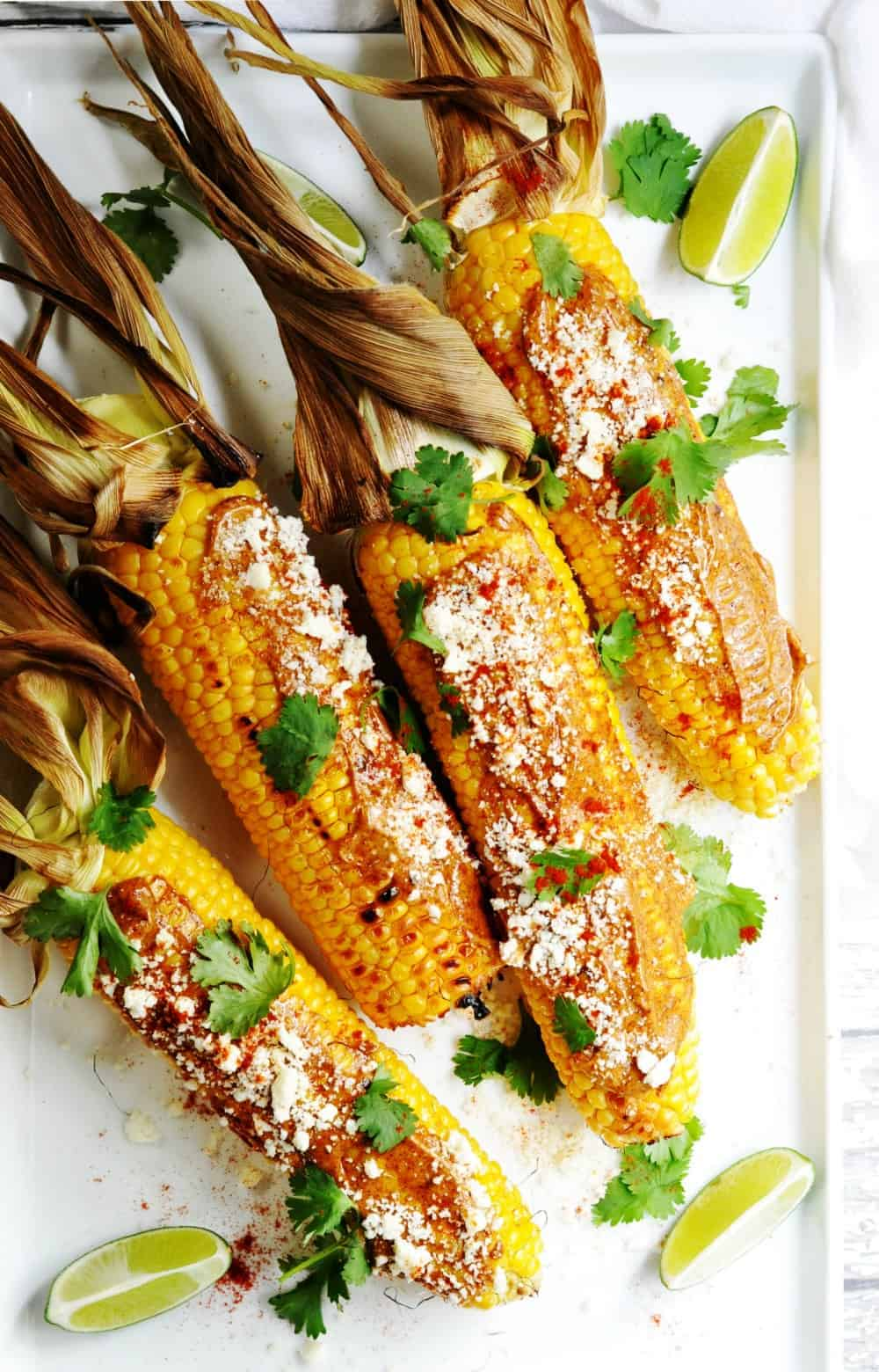 Mexican Street Corn Served on a rectangular white platter