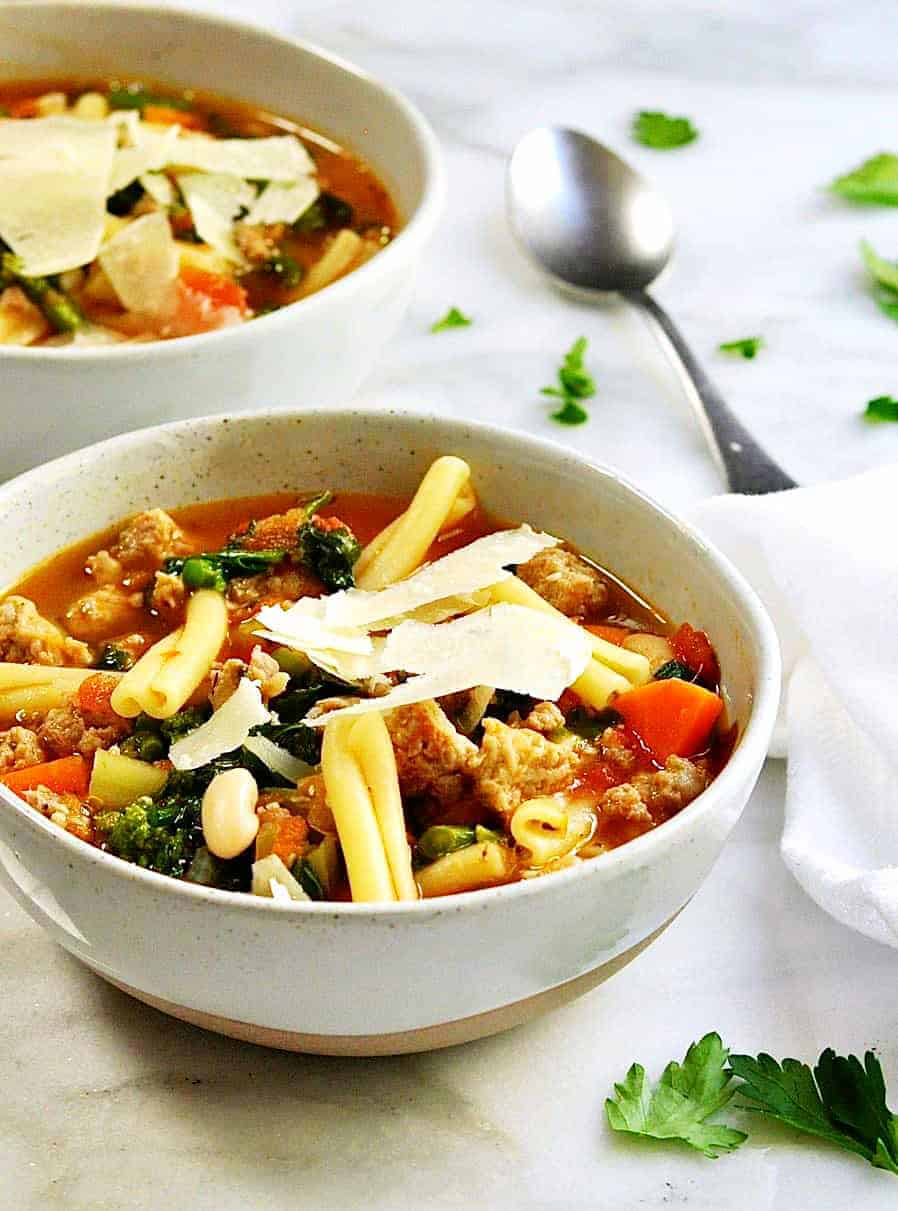 Pasta e Fagioli soup served in ceramic bowls